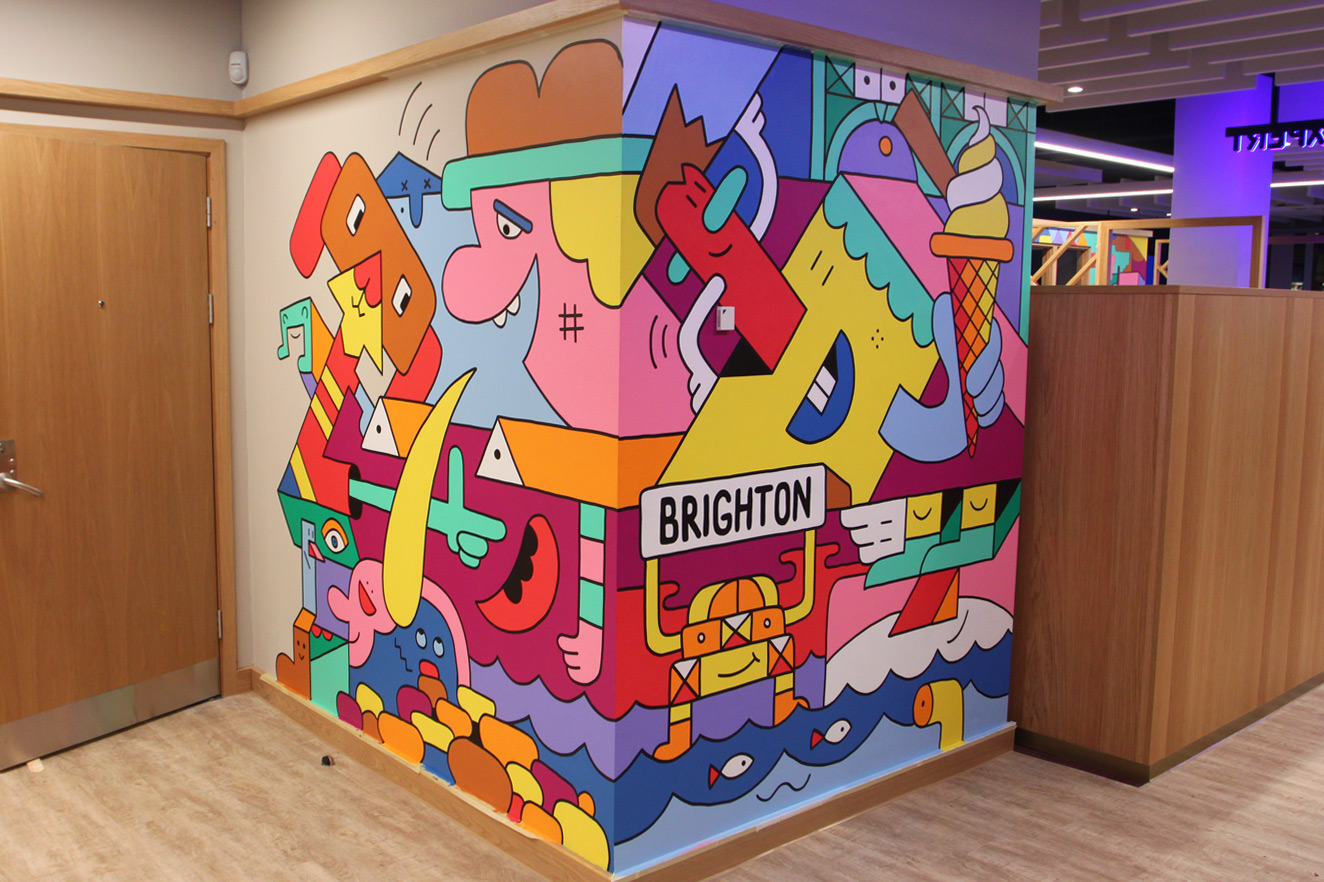 Hand Painted Mural in Brighton Branch of Royal Bank of Scotand by Mister Phil Illustration Artist